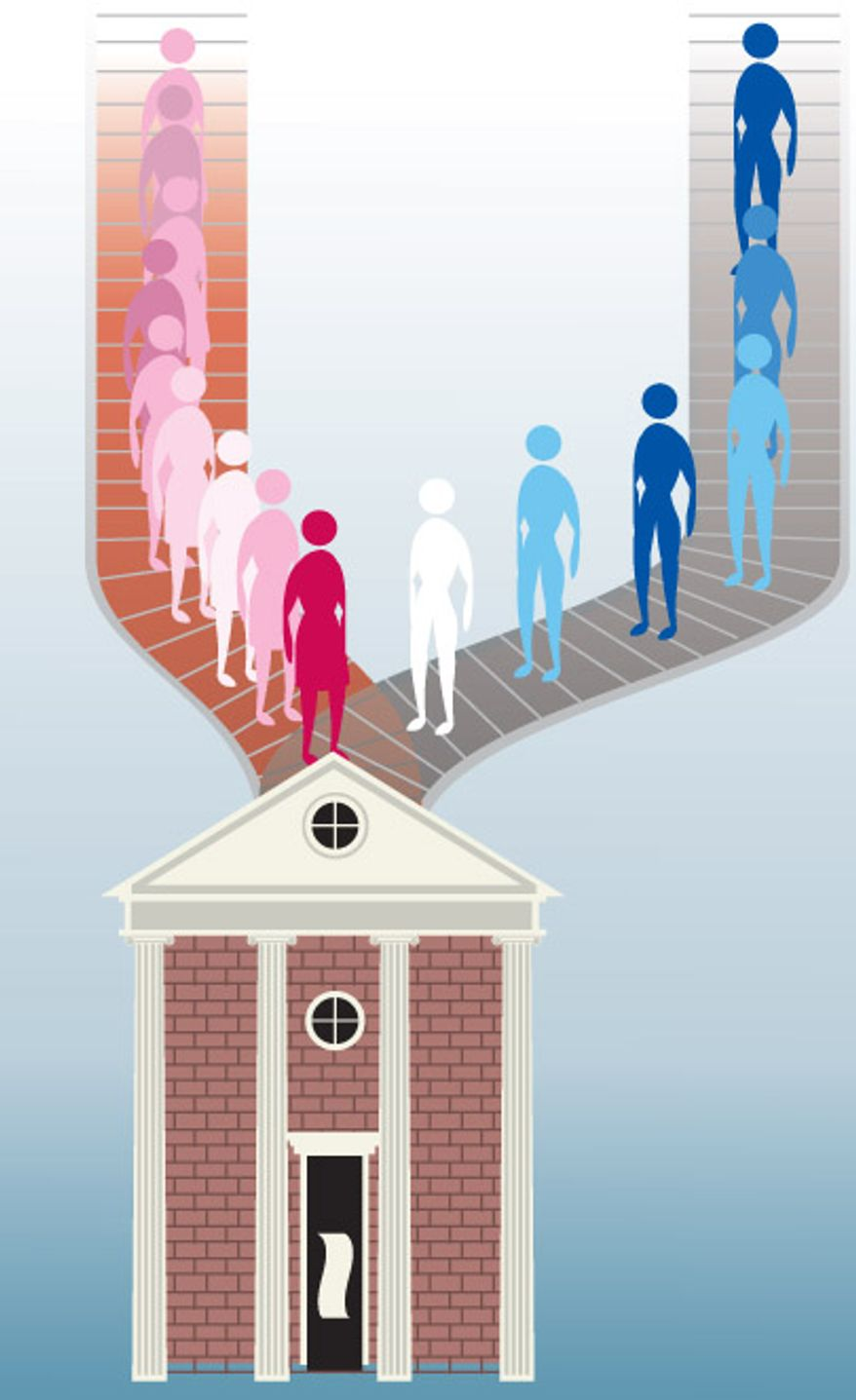 Illustration: Undergrads by Linas Garsys for The Washington Times