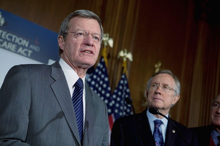 """ASSOCIATED PRESS CHASTENED: Sen. Max Baucus said the Democrats had """"adjusted the amendment"""" to appease opponents."""