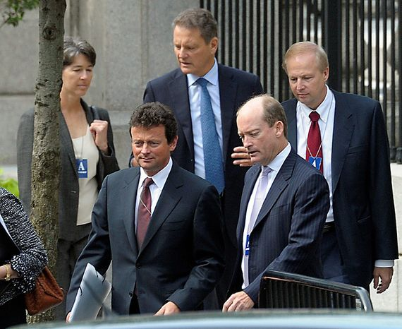 BP Chief Executive Officer Tony Hayward (second from left), BP America chief Lamar McKay (second from right), BP Chairman Carl-Henric Svanberg (center) and other BP representatives arrive at the White House in Washington on Wednesday, June 16, 2001, for a meeting with President Obama. (AP Photo/Susan Walsh)