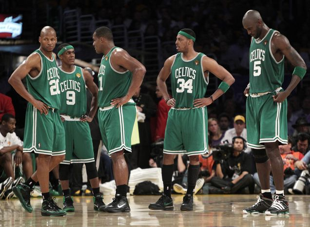 ASSOCIATED PRESS From left, Boston Celtics' Ray Allen, Rajon Rondo, Glen Davis, Paul Pierce and Kevin Garnett gather during a timeout in the second half of Game 6 of the NBA basketball finals against the Los Angeles Lakers on Tuesday, June 15, 2010, in Los Angeles.
