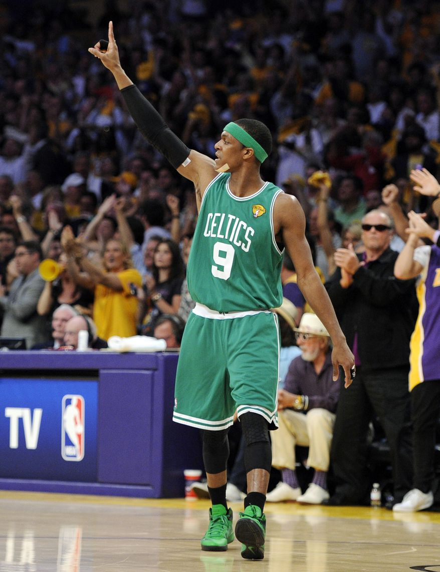 ASSOCIATED PRESS Boston Celtics  guard Rajon Rondo calls a play during the first half of Game 7 of the NBA basketball finals against the Los Angeles Lakers on Thursday, June 17, 2010, in Los Angeles.