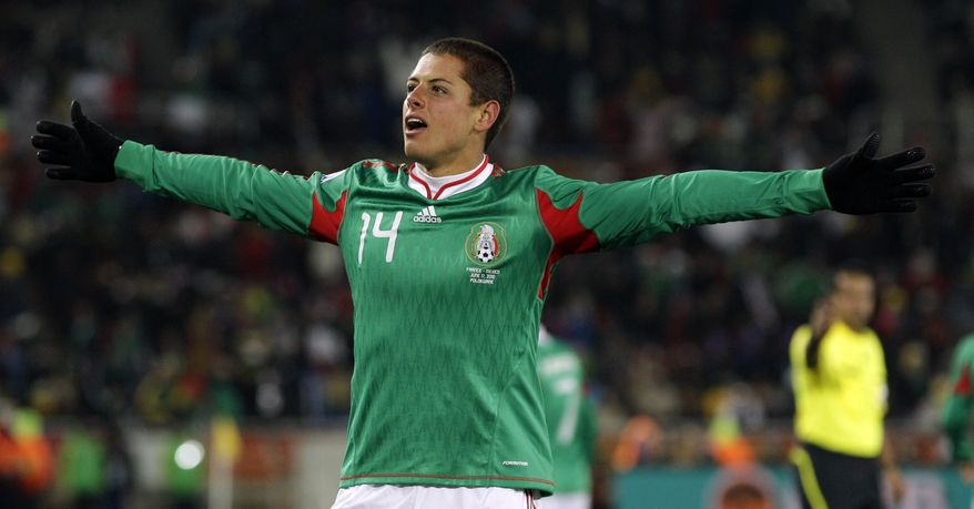ASSOCIATED PRESS Mexico's Javier Hernandez celebrates after scoring during the World Cup group A soccer match between France and Mexico at Peter Mokaba Stadium in Polokwane, South Africa, Thursday, June 17, 2010.