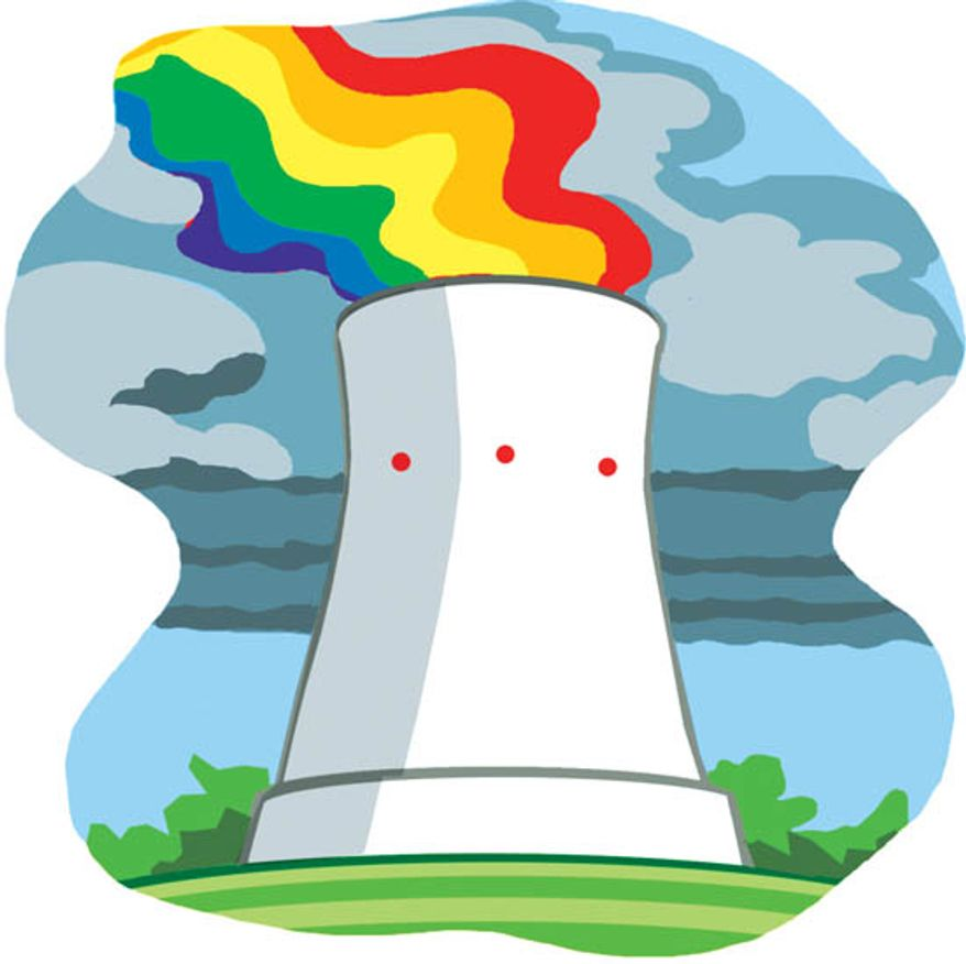 Illustration: Nuclear plant by Alexander Hunter for The Washington Times