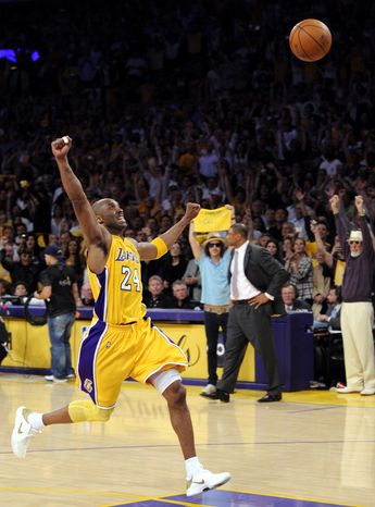 ASSOCIATED PRESS Los Angeles Lakers guard Kobe Bryant react as the ball bounces away for the final second of Game 7 of the NBA basketball finals against the Boston Celtics Thursday, June 17, 2010, in Los Angeles.