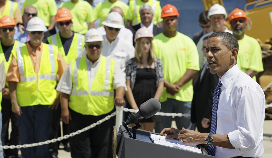 President Obama delivers remarks at the groundbreaking of a road project funded by the American Recovery and Reinvestment Act, Friday, June 18, 2010, in Columbus, Ohio. (AP Photo/Amy Sancetta)