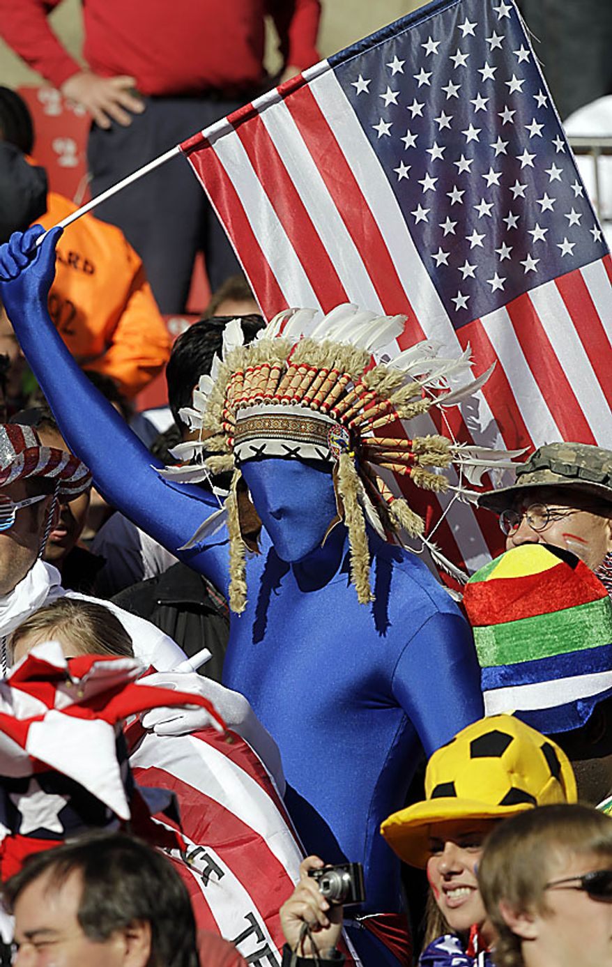 United States' fans cheer during the World Cup group C soccer match between Slovenia and the United States at Ellis Park Stadium in Johannesburg, South Africa, Friday, June 18, 2010.  (AP Photo/Rob Griffith)