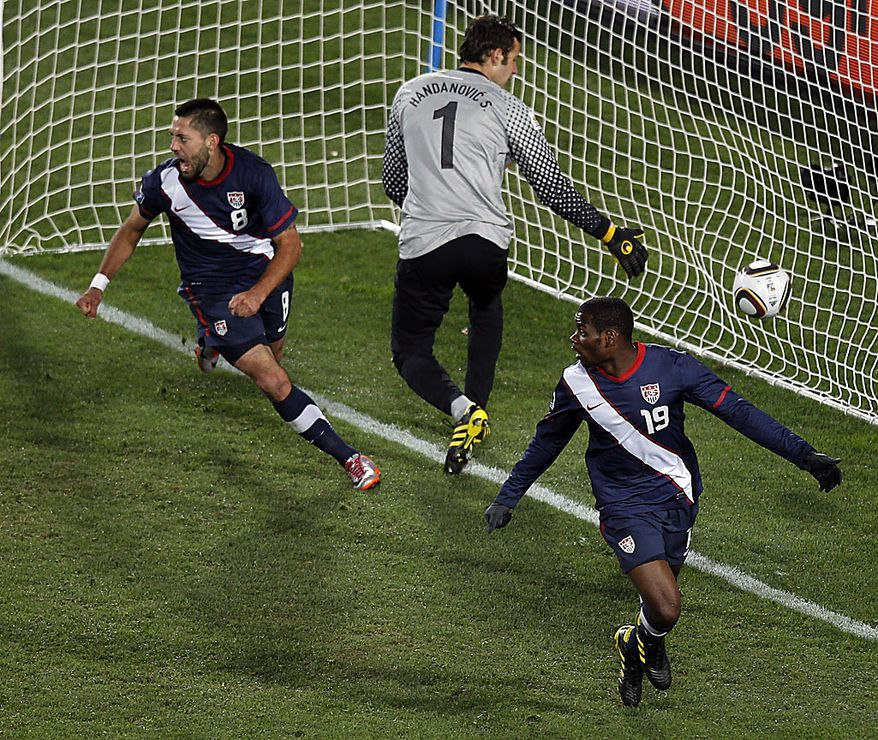 United States' Maurice Edu, bottom, and Clint Dempsey react after the referee disallowed a goal by Edu during the World Cup group C soccer match between Slovenia and the United States at Ellis Park Stadium in Johannesburg, South Africa, Friday, June 18, 2010.  (AP Photo/Hassan Ammar)