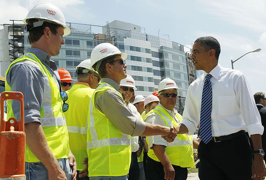 President Obama greets construction workers as he toured a Recovery Act highway project in Columbus, Ohio, Friday, June 18, 2010. (AP Photo/Charles Dharapak)
