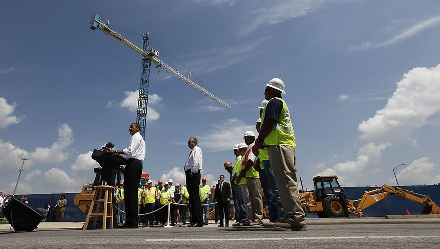 President Obama tours a Recovery Act highway project in Columbus, Ohio, Friday, June 18, 2010. (AP Photo/Charles Dharapak)