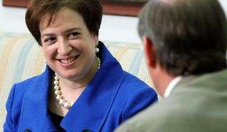 ASSOCIATED PRESS Supreme Court nominee Elena Kagan meets with Sen. Tom Udall, New Mexico Democrat, on Capitol Hill. Newly released e-mails from Elena Kagan's time as an aide to President Clinton portray the Supreme Court nominee as a driven and highly opinionated person with a flair for political tactics and little tolerance for high-flying rhetoric.