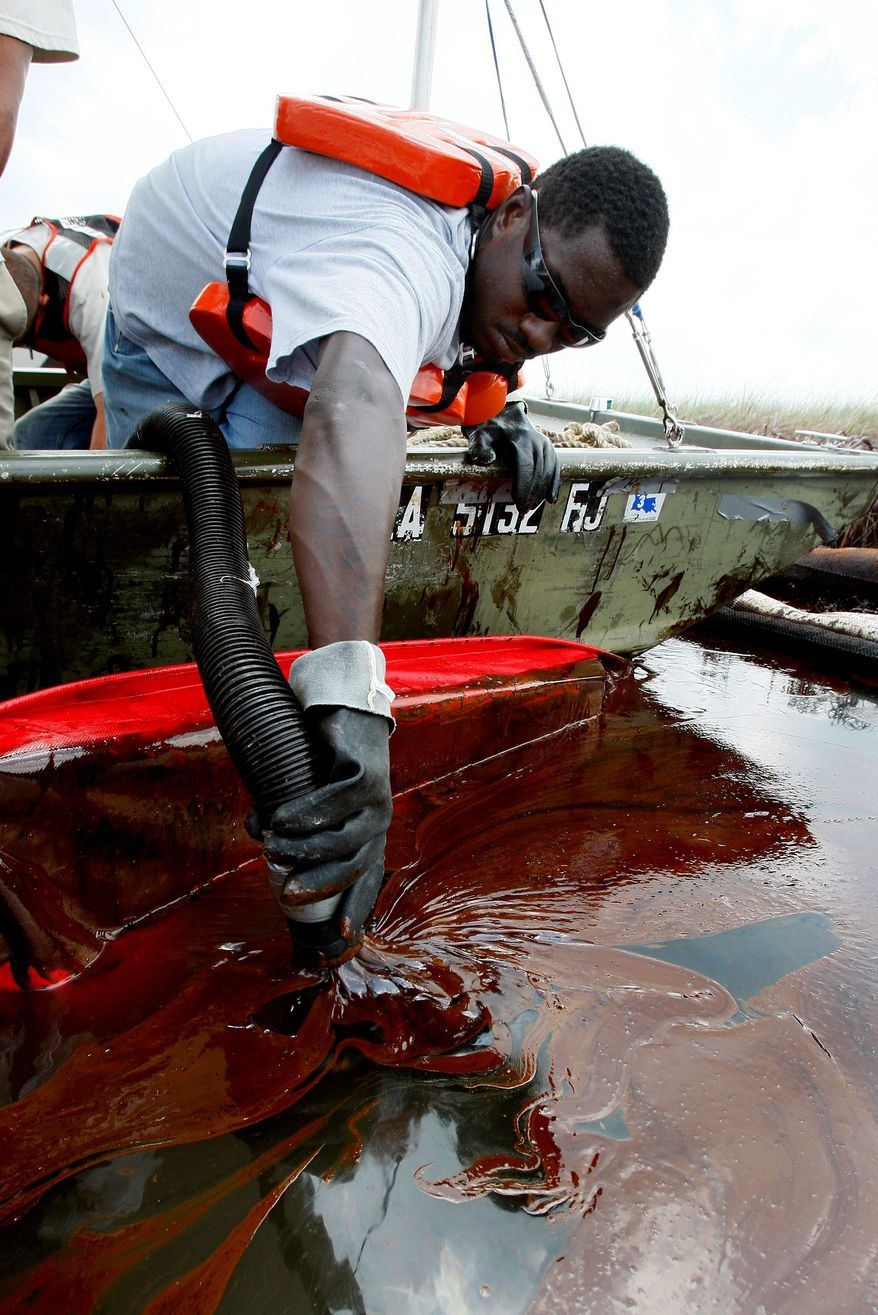 Associated Press James McGee vacuums oil from the Deepwater Horizon oil spill in Barataria Bay off the coast of Louisiana on Sunday. White House Chief of Staff Rahm Emanuel on Sunday portrayed Republicans as being overly sympathetic toward BP about the spill.