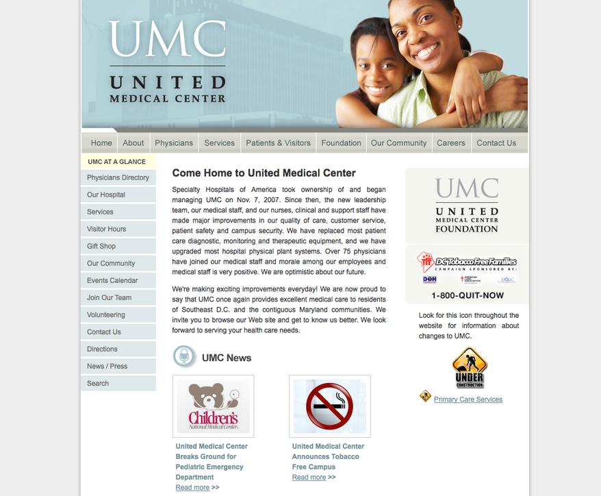 Screen capture of United Medical Center's Web site (Courtesy of united-medicalcenter.com)
