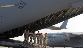 An Army carry team carries a transfer case containing the remains of Pfc. Benjamin J. Park Sunday, June 20, 2010, at Dover Air Force Base, Del. According to the Department of Defense, Park, of Fairfax Station, Va., died while supporting Operation Enduring Freedom. (AP Photo/Steve Ruark)