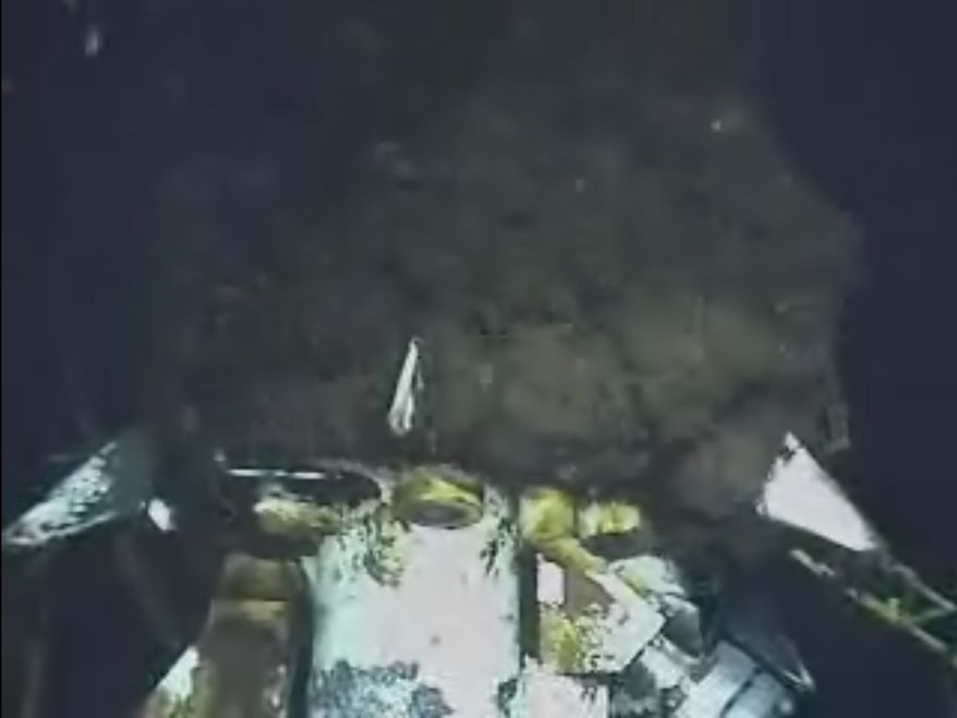 This image from video provided by BP PLC early Sunday morning, June 20, 2010, shows oil continuing to gush from the broken wellhead at the the Deepwater Horizon site in the Gulf of Mexico. (AP Photo/BP PLC)