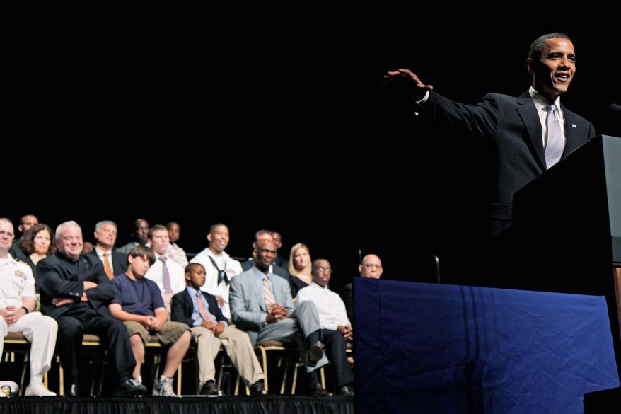 """An absentee father """"leaves a hole in a child's life,"""" President Obama says Monday in Anacostia while announcing a mentoring program for fathers, including job training and violence prevention, and initiatives to help ex-offenders return to parenting. (Associated Press)"""