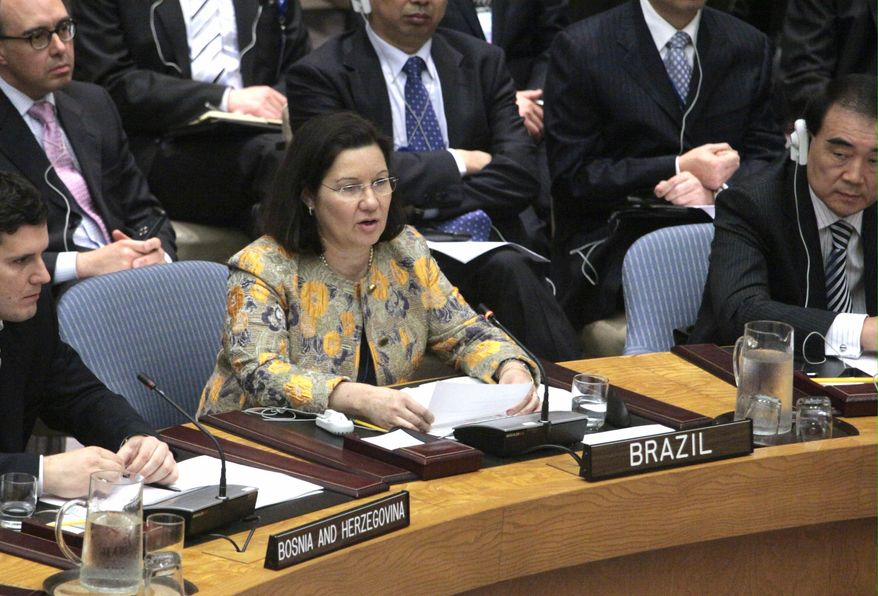 Brazil's United Nations Ambassador Maria Ribeiro Viotti speaks before the United Nations Security Council voted on new sanctions against Iran on Wednesday, June 9, 2010. On Monday, June 21, 2010 Iran announced it was barring two U.N. nuclear inspectors. (AP Photo/Bebeto Matthews)