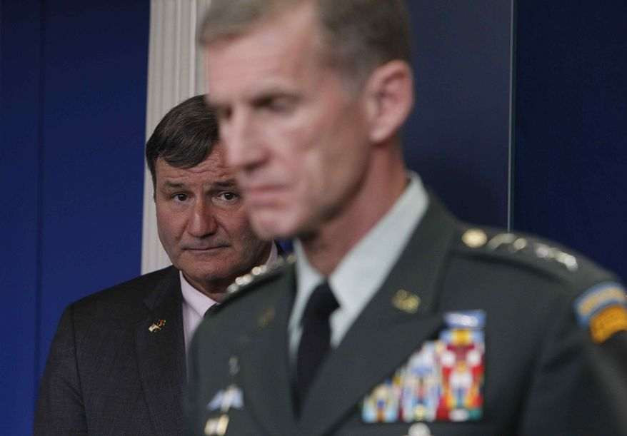 ** FILE ** In this May 10, 2010, file photo, Commander of U.S. and NATO forces in Afghanistan Gen. Stanley McChrystal, and U.S. Ambassador to Afghanistan Karl W. Eikenberry brief reporters ahead of Afghan President Hamid Karzai's visit at the White House. (AP Photo/Charles Dharapak)