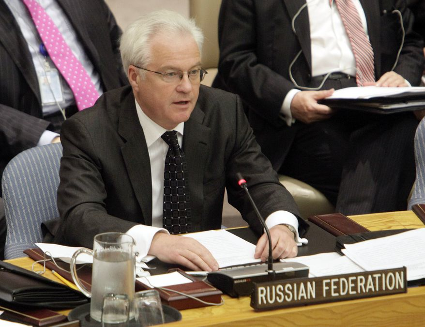 Russia's Ambassador Vitaly Churkin speaks after a vote sanctioning Iran during a session of the United Nations Security Council, Wednesday, June 9, 2010. (AP Photo/Richard Drew)