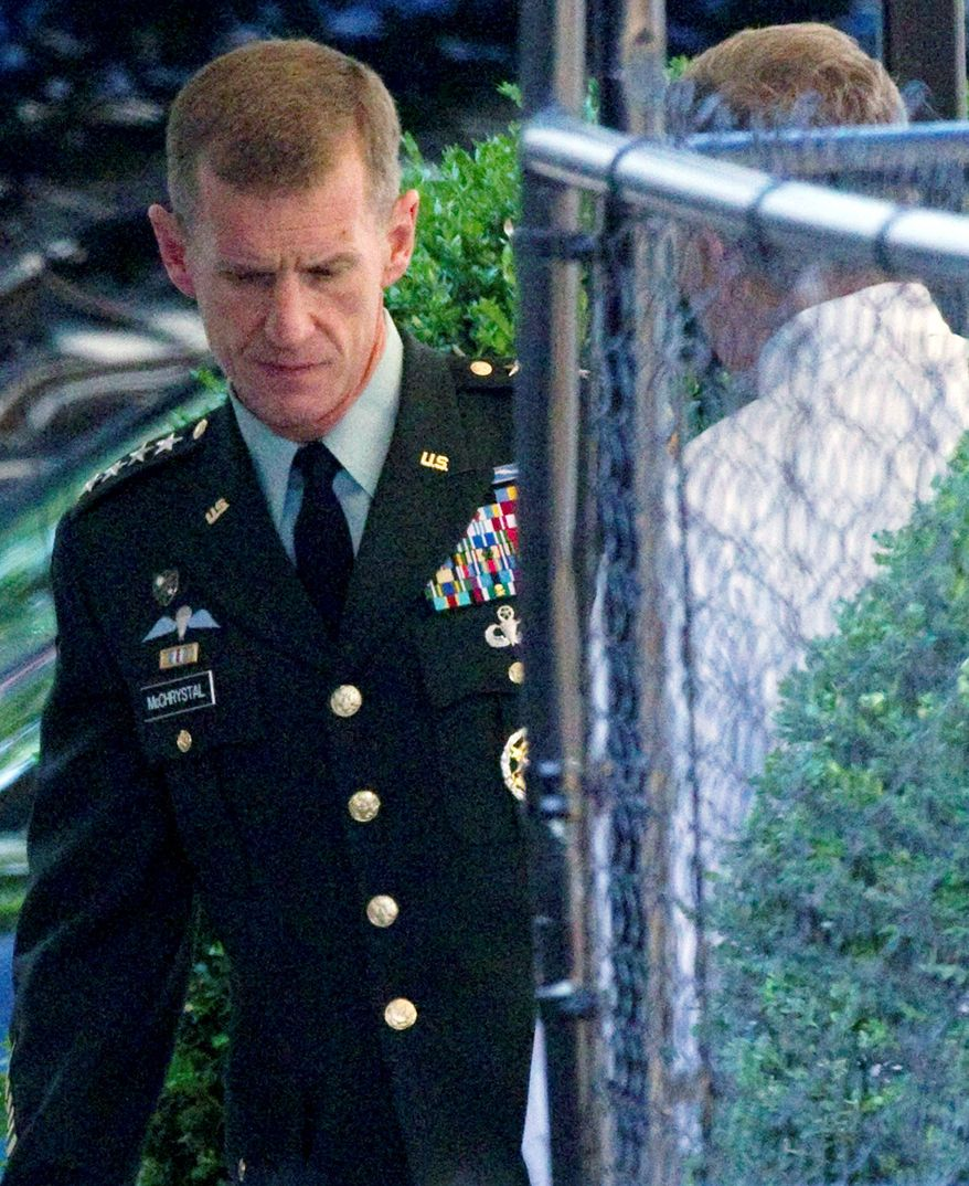 RETIRING: Gen. Stanley McChrystal arrives at the White House on Wednesday. Gen. McChrystal offered his resignation to President Obama after the general disparaged senior officials in interviews with Rolling Stone. (Associated Press)