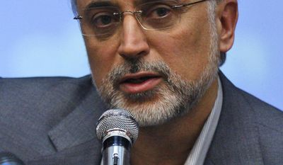 ** FILE ** Ali Akbar Salehi, Iran's vice president and head of its Atomic Energy Organization, speaks with the media in Tehran in October 2009. (AP Photo/Vahid Salemi, File)