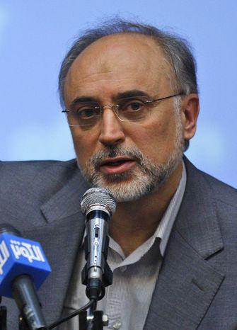 ** FILE ** Ali Akbar Salehi, Iran's vice president and head of its Atomic Energy Organization, speaks with the media in Tehran in October 2009. (AP Photo/Vahid Salemi, File)