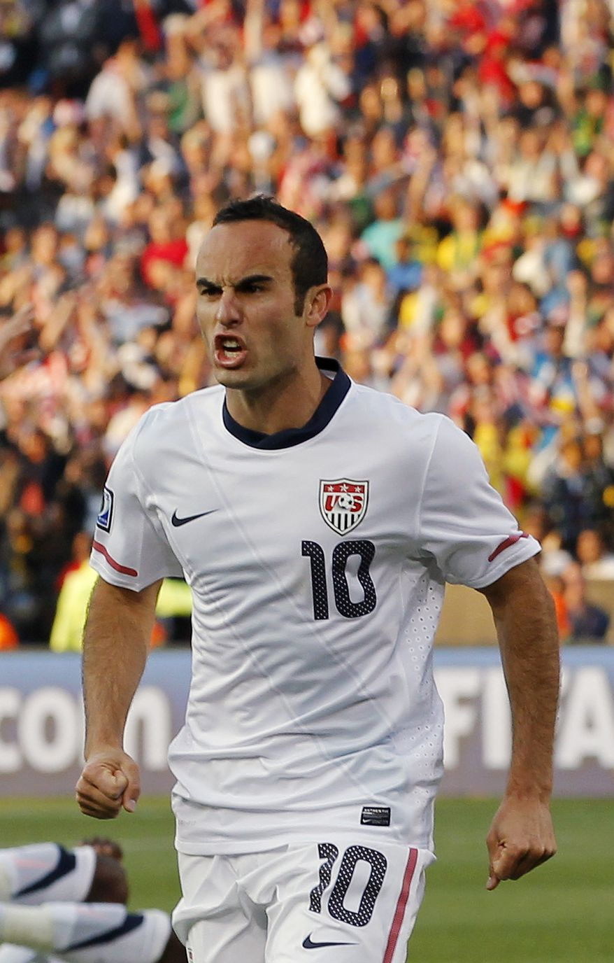 Landon Donovan of the United States soccer team reacts after a goal by teammate Clint Dempsey was disallowed during the World Cup match between the United States and Algeria at the Loftus Versfeld Stadium in Pretoria, South Africa, on Wednesday, June 23, 2010. (AP Photo/Bernat Armangue)