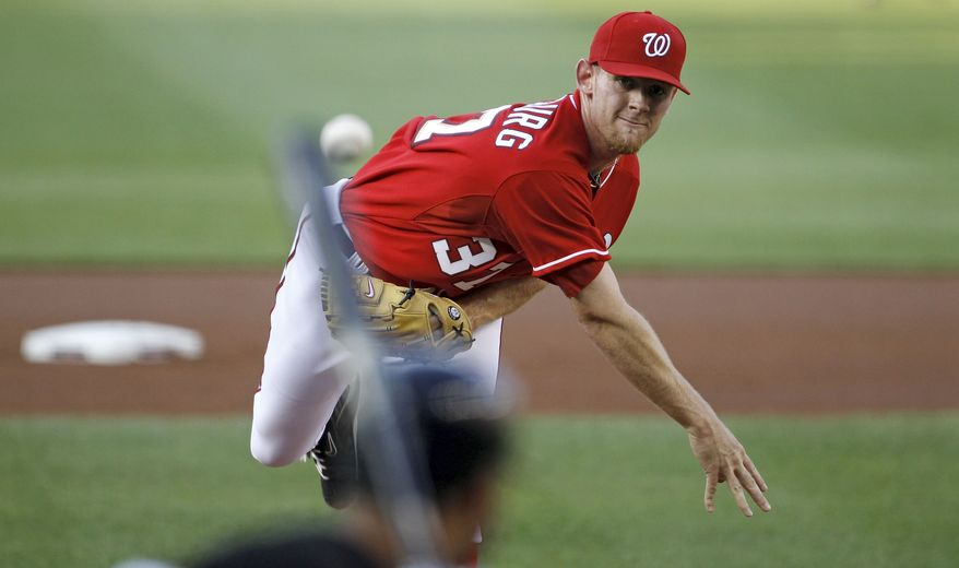 Washington Nationals starting pitcher Stephen Strasburg throws against the Chicago White Sox during the first inning of a baseball game, Friday, June 18, 2010, in Washington. (AP Photo/Haraz N. Ghanbari)