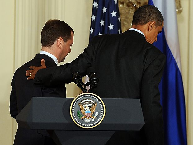 U.S. President Barack Obama and Russian President Dmitry Medvedev depart after speaking to the media in the East Room of the White House following their meeting in Washington on June 24, 2010.    UPI/Roger L. Wollenberg
