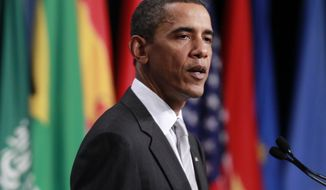 President Obama speaks during his closing press conference Sunday at the G20 summit in Toronto. (Associated Press)