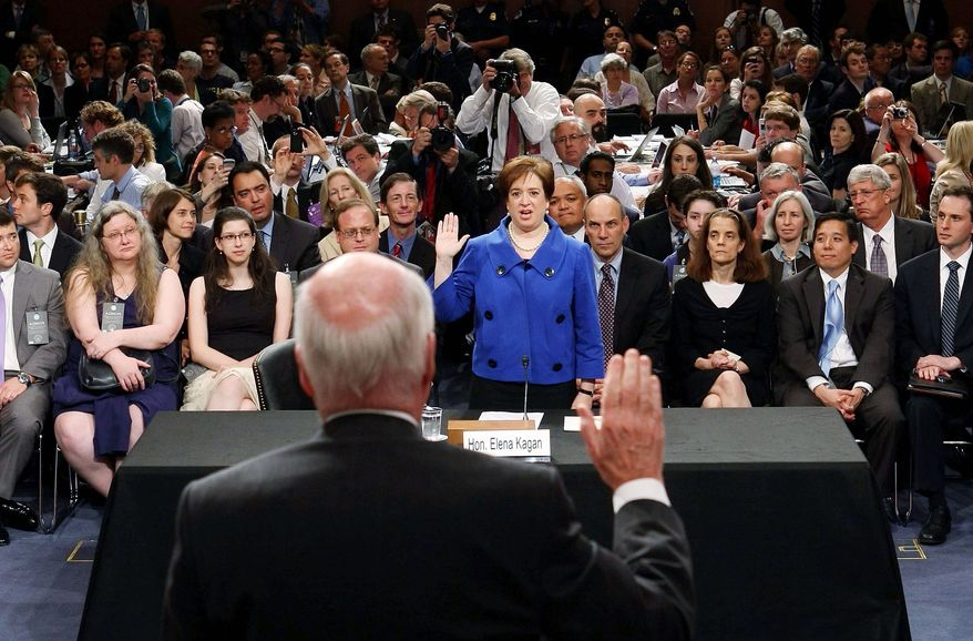 "ASSOCIATED PRESS Sen. Patrick J. Leahy swears in nominee Elena Kagan. ""The Supreme Court is a wondrous institution. But the time I spent in the other branches of government remind me that it must also be a modest one - properly deferential to the decisions of the American people and their elected representatives,"" she said."
