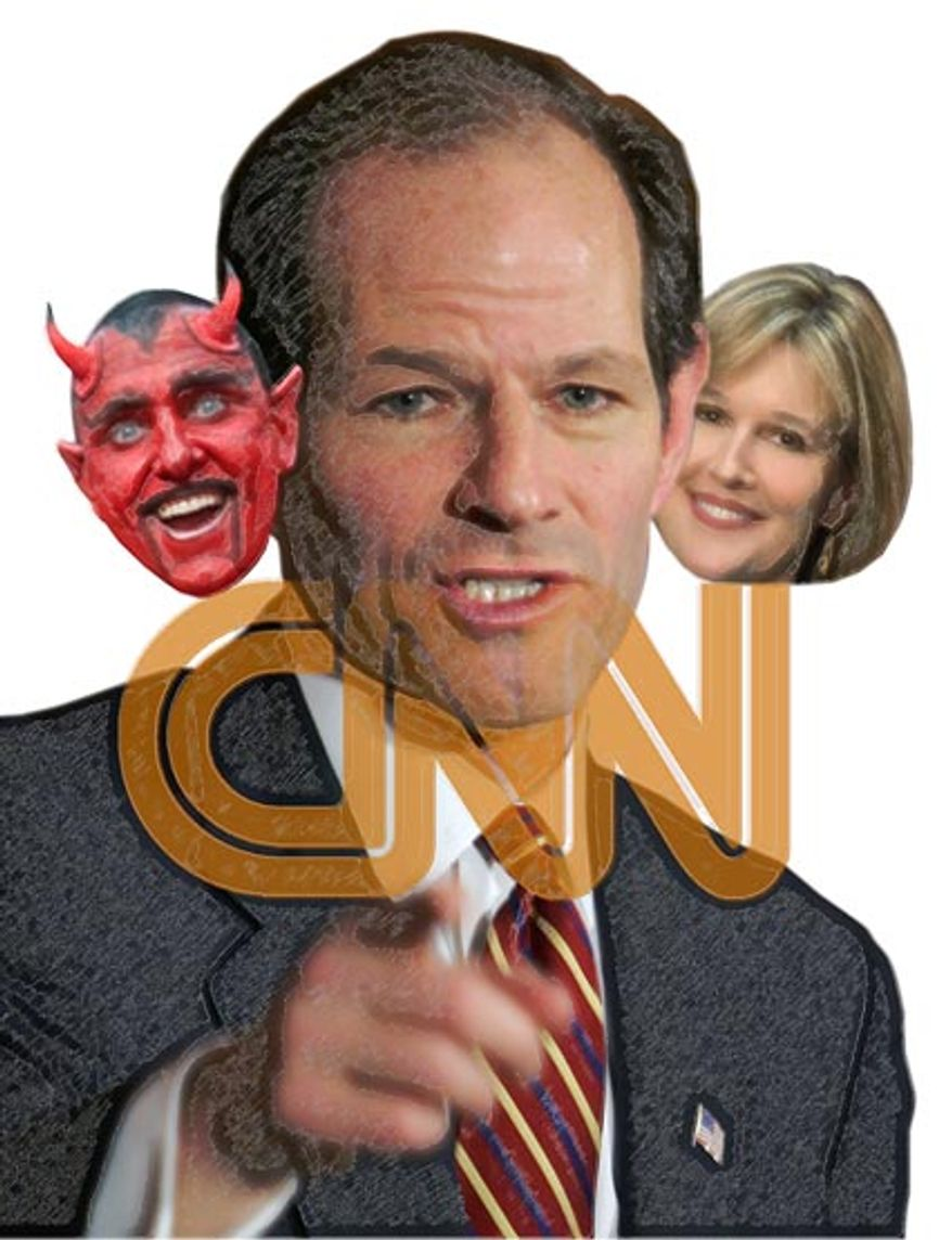 Illustration: Spitzer CNN by Greg Groesch for The Washington Times