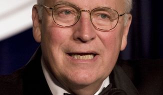 In this Wednesday, Oct. 21, 2009, file photo, former Vice President Dick Cheney speaks at the Center For Security Policy dinner at Union Station in Washington. Mr. Cheney, 69, was admitted to the hospital Friday, June 25, 2010, after experiencing discomfort. He left the hospital on Monday.  (AP Photo/Harry Hamburg, File)