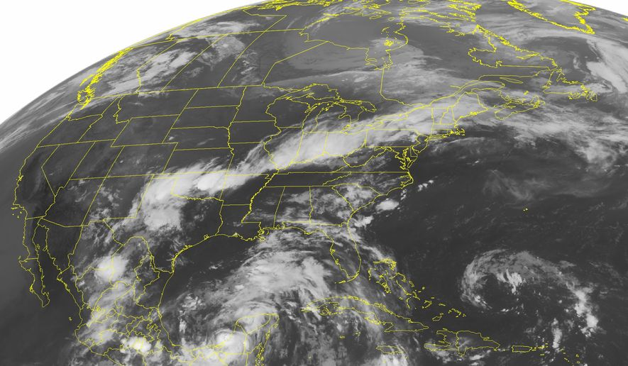 This NOAA satellite image taken Monday, June 28, 2010, at 1:45 a.m. EDT shows clouds over the Yucatan Peninsula associated with Tropical Storm Alex as it begins to move into the Bay of Campeche. The storm is expected to strengthen into a hurricane by Tuesday. The most current forecast track takes the storm well west of the oil spill in the Gulf of Mexico and into northeastern Mexico late Wednesday or early Thursday. A line of clouds from the Southern Plains through New England is associated with a front that is producing areas of heavy rain and strong thunderstorms. This activity will continue through much of Monday. (AP PHOTO/WEATHER UNDERGROUND)