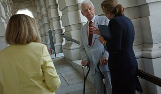 Republican leaders, among them Senator Robert C. Byrd, West Virginia Democrat, speak to the media about their accomplishments for the ending session before leaving for the summer break at the U.S. Capitol in Washington on Thursday, July 28, 2005. ( Astrid Riecken / The Washington Times )