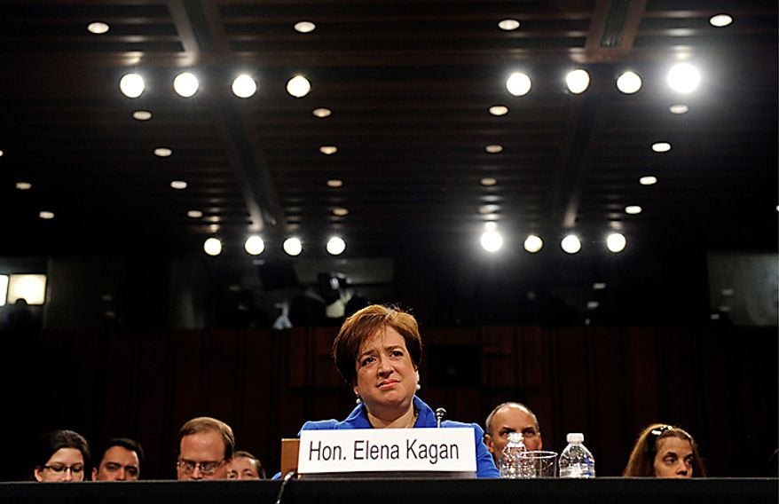 Supreme Court nominee Elena Kagan listens to opening remarks on Capitol Hill in Washington, on Monday, June 28, 2010, during her confirmation hearing before the Senate Judiciary Committee. (AP Photo/Susan Walsh)