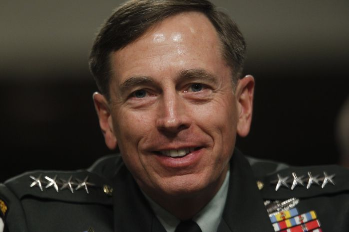 ** FILE ** Gen. David Petraeus testifies on Capitol Hill in Washington on Tuesday, June 29, 2010, before the Senate Armed Services Committee hearing to be confirmed as President Obama's choice to take control of forces in Afghanistan. (AP Photo/Pablo Martinez Monsivais)