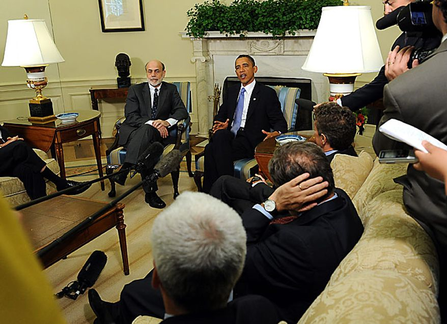 President Obama speaks to the media after meeting with Federal Reserve Board Chairman Ben Bernanke in the Oval Office of the White House in Washington on June 29, 2010. UPI/Roger L. Wollenberg