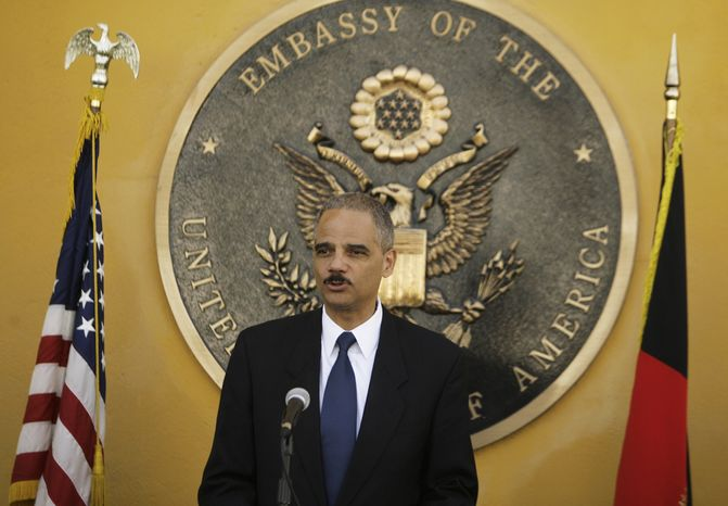 U.S. Attorney General Eric H. Holder Jr. holds a press conference Wednesday, June 30, 2010, in Kabul, Afghanistan. Mr. Holder was in the Afghan capital to talk with officials about improving the justice system and fighting corruption. (AP Photo/Ahmad Massoud)