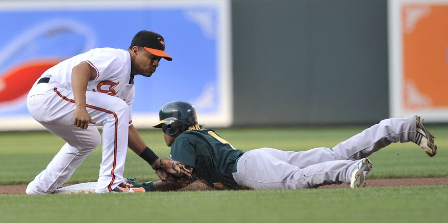 Oakland Athletics Coco Crisp is safe on a steal as Baltimore Orioles shortsop Cesar Izturis applies the tag in the first inning of a baseball game Tuesday, June 29, 2010 in Baltimore.