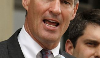 ** FILE ** Sen. Scott Brown, Massachusetts Republican, speaks on the steps of the Washington County Courthouse in Washington, Pa., on May 14, 2010. (AP Photo/Gene J. Puskar, File)