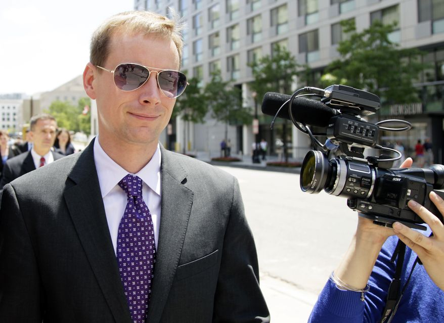 Dylan Ward leaves D.C. Superior Court in Washington, Tuesday, June 29, 2010, after he and two other defendants were acquitted of obstructing justice and conspiracy in the murder investigation of 32-year-old lawyer Robert Wone, of Oakton, Va. (AP Photo/Carolyn Kaster)