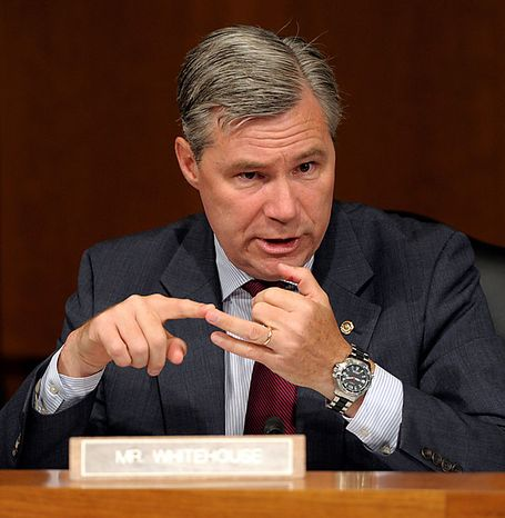 Senate Judiciary Committee member Sen. Sheldon Whitehouse, Rhode Island Democrat, questions Supreme Court nominee Elena Kagan, on Capitol Hill in Washington, Wednesday, June 30, 2010,  as she testified before the committee's confirmation hearing. (AP Photo/Susan Walsh)
