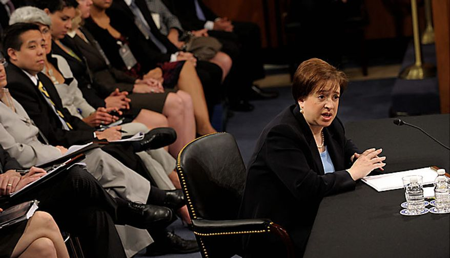Supreme Court nominee Elena Kagan testifies on Capitol Hill in Washington, Wednesday, June 30, 2010, before the Senate Judiciary Committee's confirmation hearing. (AP Photo/Susan Walsh)