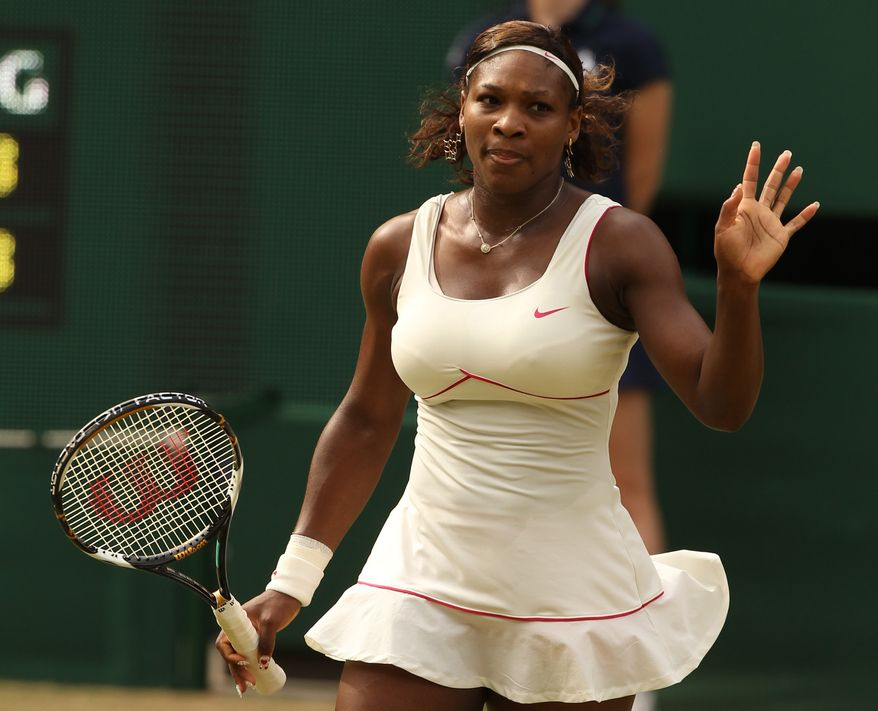 ASSOCIATED PRESS Serena Williams acknowledges the crowd, after defeating Petra Kvitova of the Czech Republic in their women's singles semifinal on the Centre Court at the All England Lawn Tennis Championships at Wimbledon, Thursday, July 1, 2010.