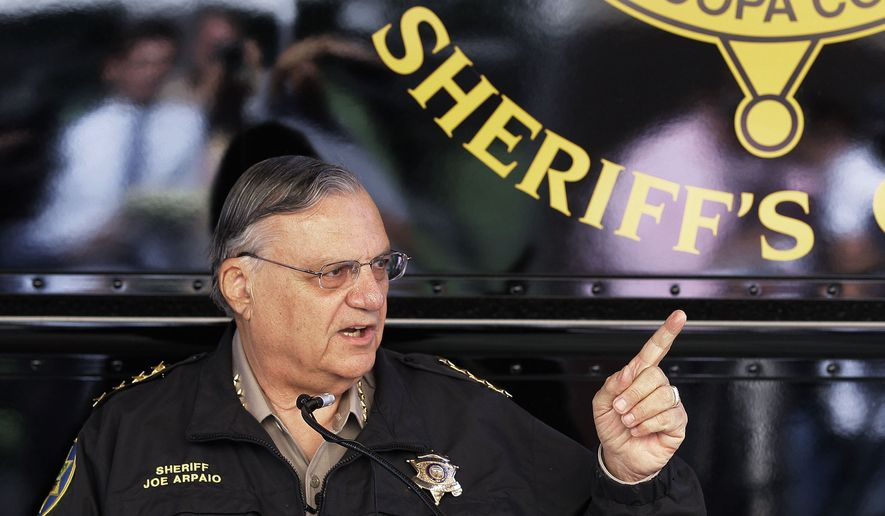 In this April 29, 2010, photo, Maricopa County Sheriff Joe Arpaio answers questions at a news conference to announce his latest crime suppression enforcement patrols in Phoenix. (AP Photo/Ross D. Franklin) **FILE**