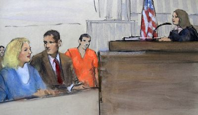 In this courtroom sketch, Tracey Lee Ann Foley, left, and her husband, Donald Heathfield, third from left, are depicted with Heathfield's attorney Peter Krupp, second from left, at a bail hearing before U.S. Magistrate Judge Jennifer Boal, right, in federal court in Boston, Thursday, July 1, 2010. Heathfield and Foley are among 11 people accused of trying to infiltrate U.S. policymaking circles. (AP Photo/Constance Flavell Pratt)