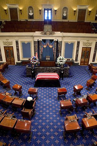 The late Sen. Robert Byrd, D-WV, lies in repose in the Senate chamber of the US Capitol in Washington on July 1, 2010.   UPI/Stephen Crowley/POOL
