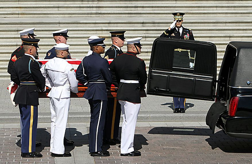 The casket of Sen. Robert C. Byrd, West Virginia Democrat, is carried by an Honor Guard into the Senate side of the U.S. Capitol in Washington on Thursday, July 1, 2010. Mr. Byrd, who died Monday, June 28, 2010, at 92 and was the longest serving senator in history, will lie in repose in the Senate Chamber until he is moved to West Virginia later Thursday. UPI/Chris Kleponis