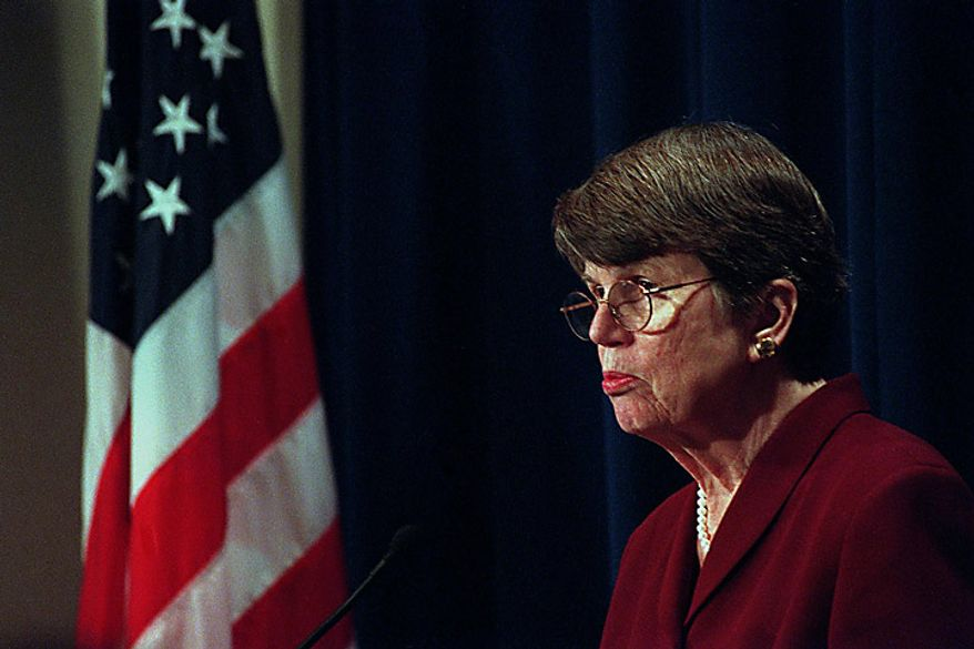 Attorney General Janet Reno speaks to reporters Friday morning, April 7, 2000 after a meeting with Juan Miguel Gonzalez about his son, Elian. ( Maya Alleruzzo / The Washington Times )