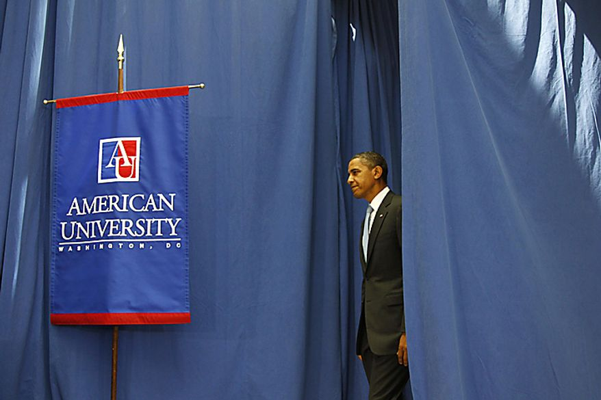 President Barack Obama arrives to speak about immigration, Thursday, July 1, 2010, at American University in Washington. (AP Photo/Charles Dharapak)